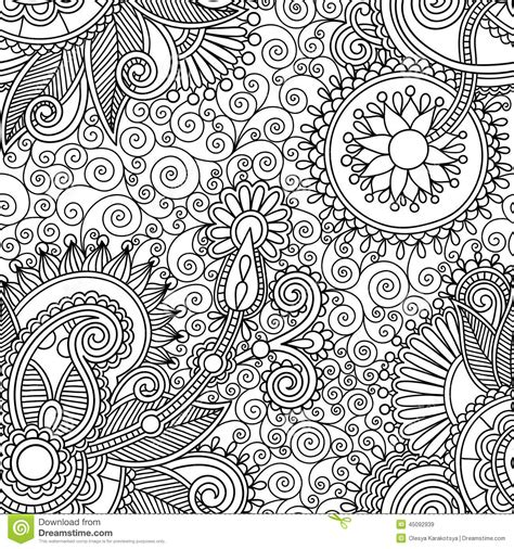 sketch pattern background seamless flower paisley design background stock vector