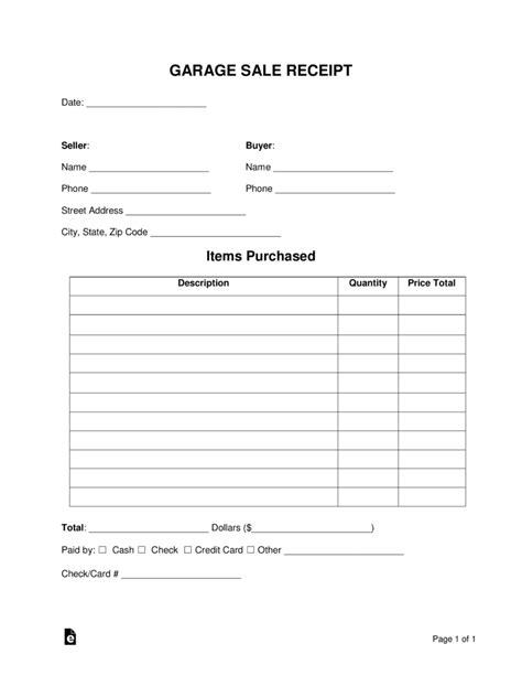 garage sale receipt template  word eforms