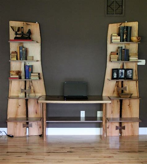 Rustic Living Room Custom Made Rustic Live Edge Oak Slab Bookcase Built In