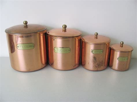 vintage copper plated kitchen canister set