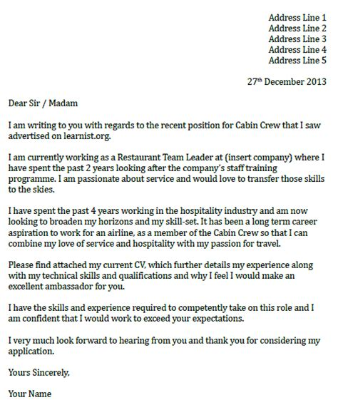 Cover Letter For Cabin Crew by Cabin Crew Cover Letter Exle Icover Org Uk