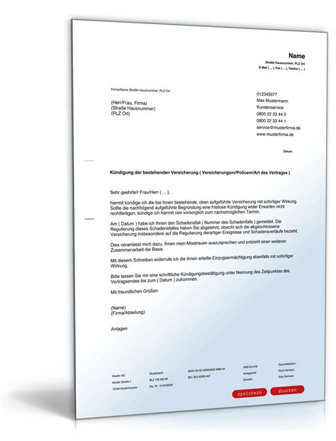 Musterbrief Beschwerde Versicherung K 252 Ndigung Versicherung Muster Zum