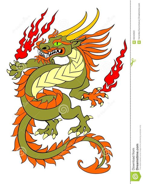 dancing dragon tattoo stock vector image 60242822