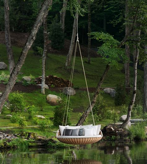 daniel pouzet's swingrest hanging outdoor lounge for dedon