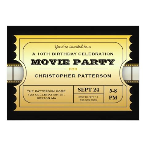 movie party birthday party admission gold ticket