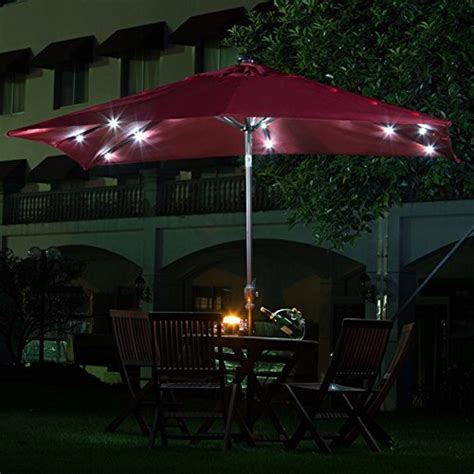 Patio Umbrella With Solar Led Lights 9 Solar 28 Led Lights Patio Umbrella Garden Outdoor Sunshade Tilt Ebay