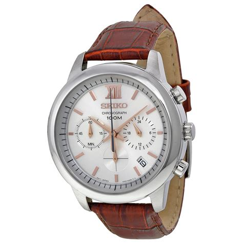 Chronograph Silver White seiko chronograph silver white brown leather s ssb143 chronograph seiko