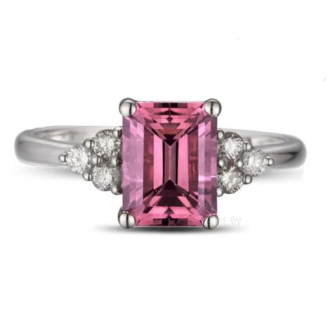 1 25 carat emerald cut pink sapphire and