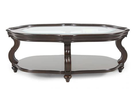 Coffee Table With Glass Insert Glass Insert Oval Contemporary Cocktail Table In Cherry Mathis Brothers Furniture