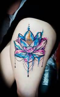 Lotus Flower On Thigh 28 Best Lotus Flower Tattoos For Thigh Golfian