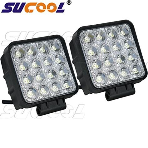 square led offroad lights 2pcs one pack 4 inch square 48w led work light road