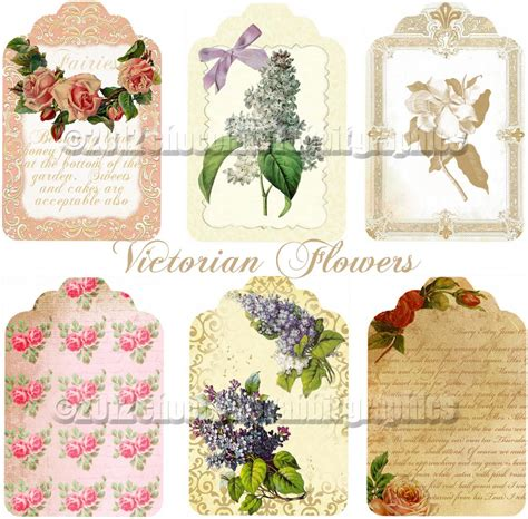 Tag Lookup For Free Vintage Collage Sheet Digital Flower Gift Tags For Scrapbooking Cards Crafts