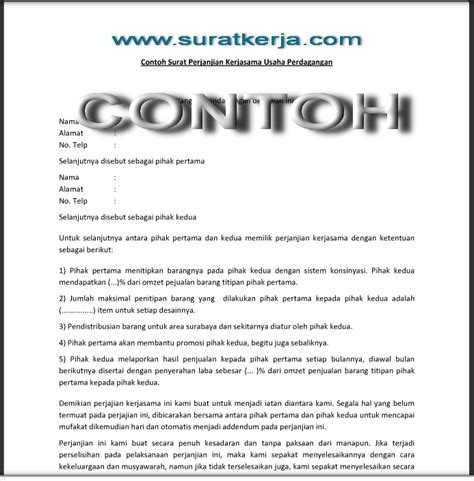 contoh surat perjanjian kerjasama usaha perdagangan surat kerja