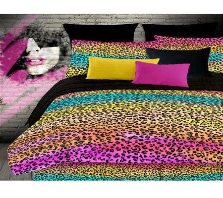 rainbow leopard comforter veratex rainbow leopard full comforter set qvc com