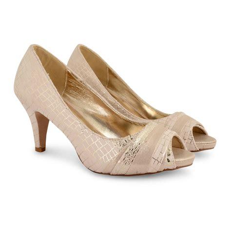 womens wedding bridal mid low heels peep toe