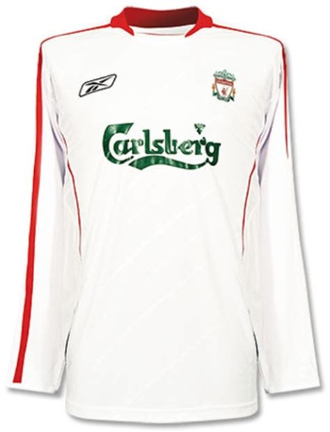 Jersey Liverpool Away 20042005 Sleeve liverpool jerseys 2005 2006 white and away jersey picture sleeve