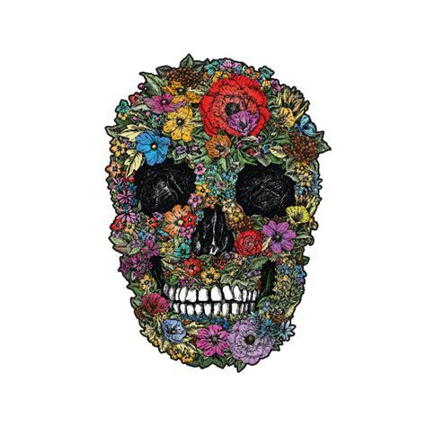 teschio fiori decorazione adesiva teschio fiori a colori murando