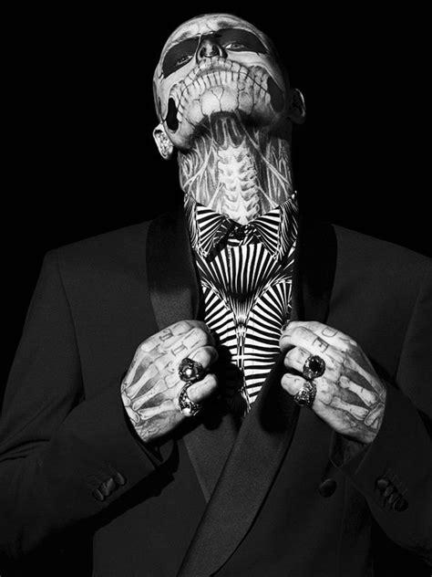 man with full body zombie tattoo rick genest aka zombie boy ambassadors of singularity by
