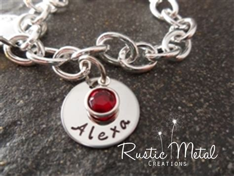 name birthstone personalized handsted charm bracelet
