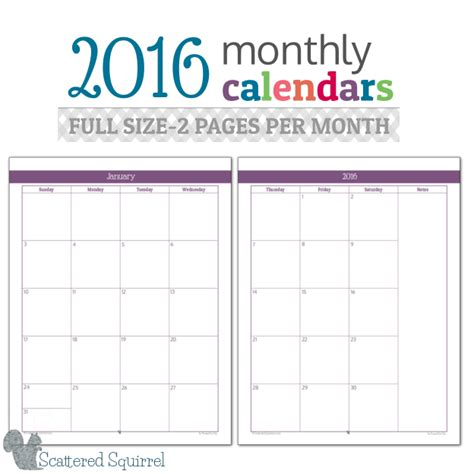 7 best images of printable 2016 calendar 2 month per page