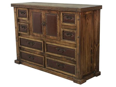 laguna rustic wood dresser with leather panels mexican