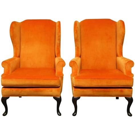 velvet wing back chair pair of style orange crush velvet wing chairs