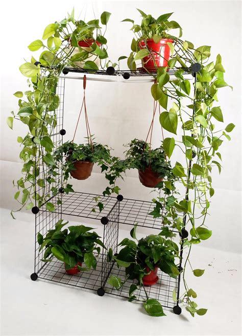 Pot Bunga Plastik 35cm 1 dekorasi lipat besi tanaman berdiri dengan tiga rak kayu