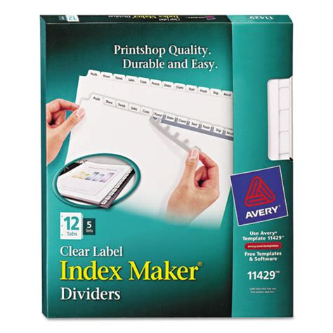Avery 11429 Index Maker Print Apply Clear Label Dividers With White Tabs Avery 12 Tab Template 11429