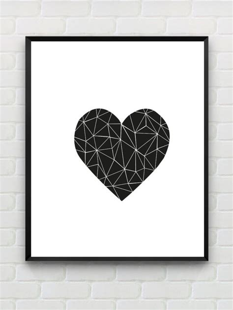 printable minimalist art printable art heart print love print polygon wall art