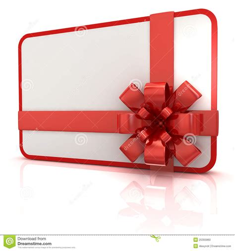 Stk Gift Card - blank gift card with red ribbon stock photo image 25305860