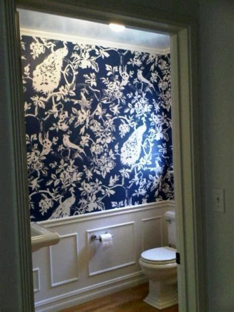 wallpaper blue bathroom to da loos wainscoting in the washroom which style works