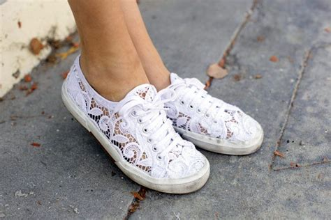 white lace sneakers on the hunt