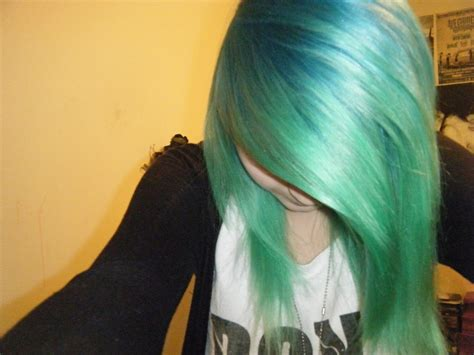 emo hairstyles tied up splat neon green and aqua rush green hair pinterest