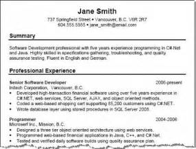 Resume Summary Format by Professional Summary Exles Best Business Template