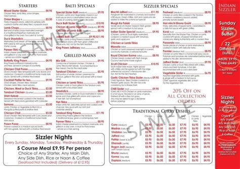 2 of 4 price lists menus indian sizzler restaurant