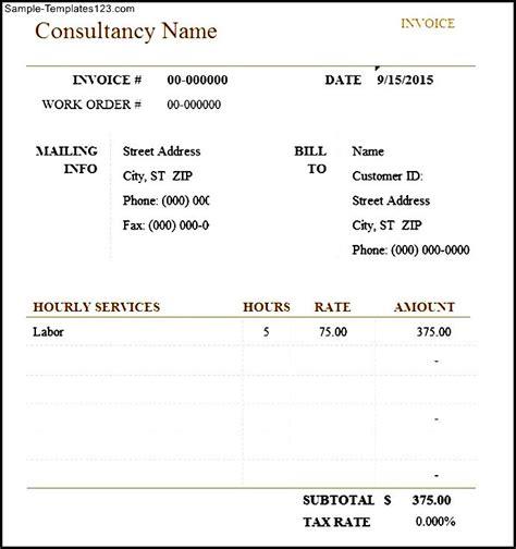 consultant invoice template excel consultant invoice excel sle templates sle templates