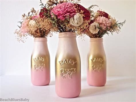 gold and pink centerpieces pink and gold ombre decor centerpiece painted milk