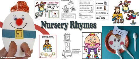 kindergarten themes nursery rhymes nursery rhymes kidssoup