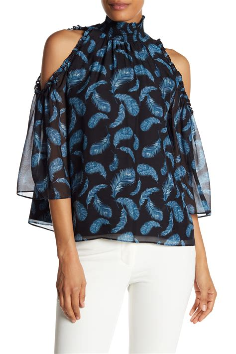 Feather Pattern Top zoe feather pattern cold shoulder top nordstrom rack