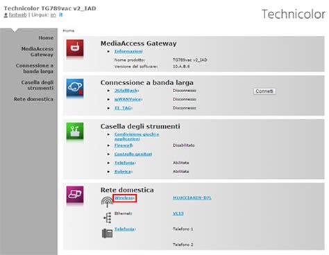 myfastpage configura porte router technicolor tg789vac v2