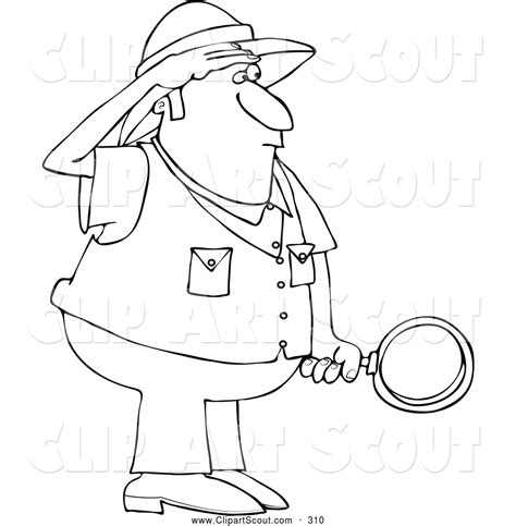 Safari Person Coloring Page | clipart of a black and white safari man holding a