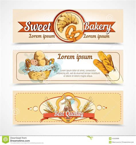design banner bakery bakery hand drawn banners stock vector image of label