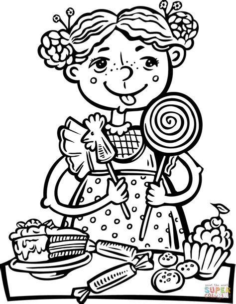 Girl Eating a Lot of Candy and Snacks coloring page | Free