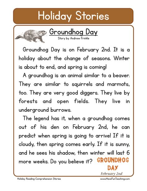 groundhog day story groundhog day reading comprehension worksheet free