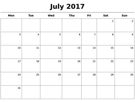 Word Template Calendar 2017
