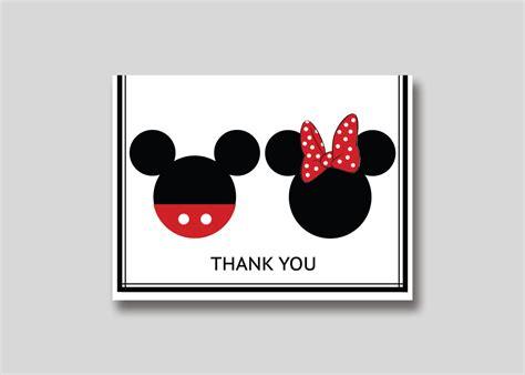 Mickey Thank You Card Template by Instant Mickey Minnie Mouse Thank You Card Diy