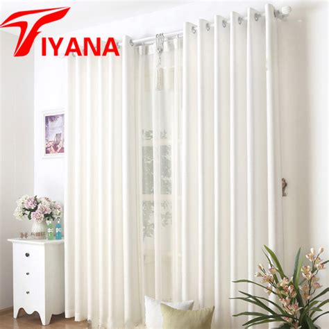 simple white curtains high quality solid linen curtain blue white color semi
