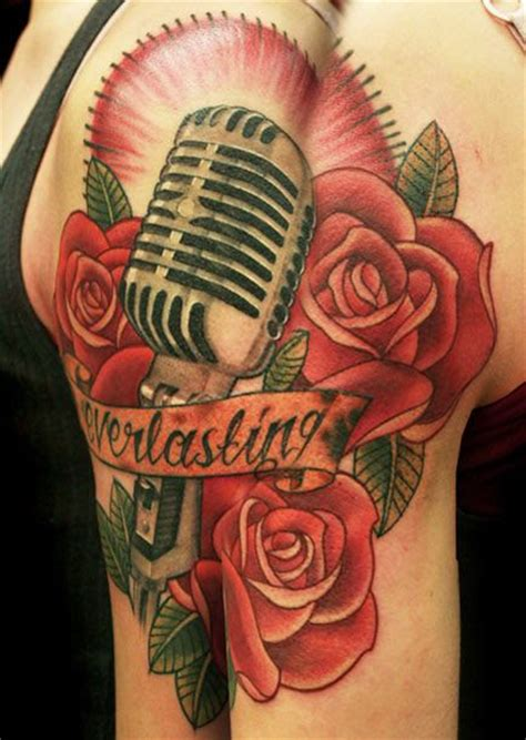 microphone rose tattoo niki norberg microphone with old school roses niki