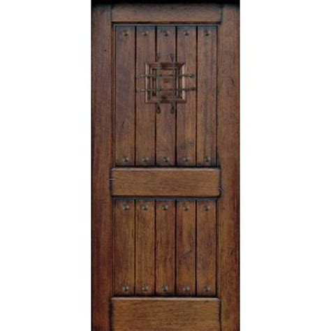 Solid Wood Exterior Door Slab 30 In X 80 In Rustic Mahogany Type Prefinished Distressed V Groove Solid Wood Speakeasy Front