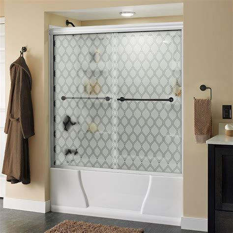 sliding shower doors for bathtubs delta lyndall 60 in x 58 1 8 in semi frameless sliding
